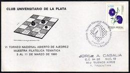 CHESS - ARGENTINA LA PLATA 1990 - VI TORNEO NACIONAL ABIERTO DE AJEDREZ - MUESTRA FILATELICA TEMATICA - Scacchi