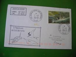 2013 Iles Éparses, Cachet Le Vaguemestre De Juan De Nova, Tortue Marine, Turtle, Timbre FS Florial - Covers & Documents