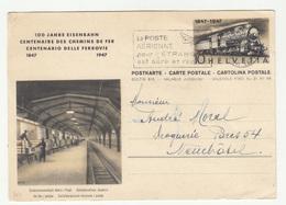 Switzerland Centenaire Des Chemins De Fer Illustrated Postal Stationery Postcard Posted 1947 B200115 - Trains