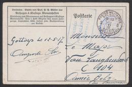 "CP Allemande En Feldpost Obl Bleue DC ""Kigoma"" (1917) + Censure Encadrée ""Passed By Postalcen Daressalam"" - Non Classés"