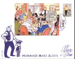 FDC  ( Enveloppe Grand Format) - Hommage à Marc Sleen - Illustration De Néron  -  Timbres N°3144 + BL 100 - 2002 - FDC