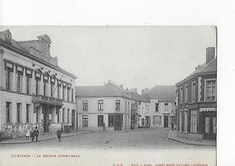 """1 Cpa Quiévrain : Maison Communale, Magasin """"chapellerie Moderne"""" - Quiévrain"""