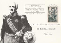 Flamme Sur Carte Postale : Bicentenaire Naissance Gal Bugeaud (Lanouaille En Dordogne-Périgord) Du 07-07-1984 - Marcophilie (Lettres)