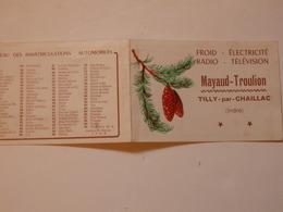 Calendrier-carte De Visite Mayaud-Troulion à Tilly-par-Chaillac (Indre). - Calendriers