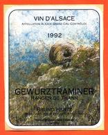 étiquette Autocollante De Vin D'alsace Gewurztraminer Rangen De Thann 1992 Bruno Hertz à éguisheim - 50 Cl - Gewürztraminer