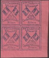Nouvelle-Calédonie 1893. Timbre De Franchise Militaire En Bloc De 4 (neufs Sans Charnières), Bleu Clair Sur Rouge. - Neufs