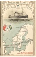 Swedish Lloyd Thule Line ADVERTSING POSTCARD Of S/S SAGA (light Bend In Middle) - Dampfer