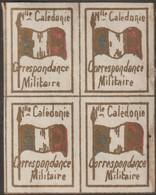 Nouvelle-Calédonie 1893. Timbre De Franchise Militaire (neuf Sans Charnière) En Bloc De 4, Bleu, Blanc Et Rouge. Drapeau - Stamps