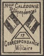 Nouvelle-Calédonie 1893. Timbre De Franchise Militaire (neuf Sans Charnière), Noir Sur Gris Jaunâtre. Drapeaux, N° 19 - Neufs