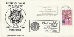 """Env. De """"Périgueux RP - 24, Dordogne"""" Du 30-08-1986, """"Centenaire De L'automobile Club Du Périgord"""" Sur YT 1548 - Marcophilie (Lettres)"""