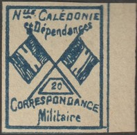 Nouvelle-Calédonie 1893. Timbre De Franchise Militaire (neuf Sans Charnière), Bleu Sur Vert Jaunâtre. Drapeaux, N° 20 - Neufs