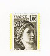 Sabine 1fr Olive YT 2057 Avec 2 Bandes De Phosphore ( Demi Bandes ) . Pas Coté Mais Pas Courant , Voir Le Scan . - Variétés: 1970-79 Neufs