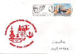 PORTE AVIONS CHARLES DE GAULLE Mission FRAME 05 - Escale à Brest Obl. CDG 30/06/05 - Poste Navale
