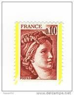 Sabine 0.10fr Brun Rouge YT 1965 Avec 2 Bandes De Phosphore à Droite Et à Gauche ( Demi Bandes ) . Superbe, Voir Le Scan - Variétés: 1970-79 Neufs