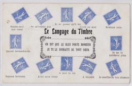 Cpa Fantaisie La Langage Du Timbre Type Semeuse - Briefmarken (Abbildungen)