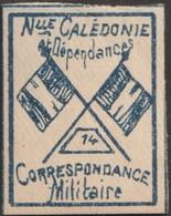 Nouvelle-Calédonie 1893. Timbre De Franchise Militaire (neuf Sans Charnière), Bleu Sur Grisâtre. Drapeaux, N° 14 - Neufs