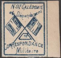 Nouvelle-Calédonie 1893. Timbre De Franchise Militaire (neuf Sans Charnière), Bleu Sur Grisâtre. Drapeaux, N° 10 - Stamps