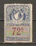 France - Timbre Fiscal D'affichage - Ville De Paris -  72c - Neuf - Fiscaux