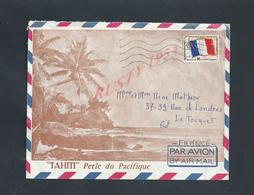 MILITARIA TAHITI LETTRE ILLUSTRÉE EN FRANCHISE MILITAIRE 1967 DE CHRISTIAN MATHIEU POUR LE TOUQUET RENÉ MATHIEU : - Poststempel (Briefe)