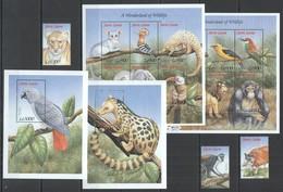 E1667 SIERRA LEONE WILD ANIMALS FAUNA WONDERLAND OF WILDLIFE !!! 2KB+2BL+SET MNH - Timbres
