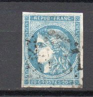 - FRANCE N° 45C Oblitéré Losange GC - 20 C. Bleu Emission De Bordeaux 1870, Type II, Report 3 - Cote 70 EUR - - 1870 Uitgave Van Bordeaux