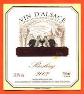 étiquette De Vin D'alsace Riesling 2002 JL Mauler à Beblenheim - 75 Cl - Escargots - Riesling