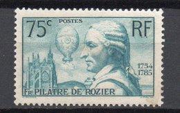 - FRANCE N° 313 Neuf * MH - 75 C. Bleu-vert Pilâtre De Rozier 1936 - Cote 20 EUR - - France