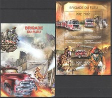 CA639 2013 CENTRAL AFRICA CENTRAFRICAINE FIRE TRUCKS FIRE BRIGADE FIREFIGHTERS KB+BL MNH - Vrachtwagens