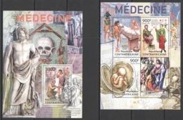 CA645 2013 CENTRAL AFRICA CENTRAFRICAINE ART RED CROSS HISTORY MEDICINE KB+BL MNH - Medizin