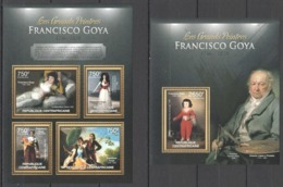 CA664 2013 CENTRAL AFRICA CENTRAFRICAINE ART THE GREAT PAINTERS FRANCISCO GOYA KB+BL MNH - Art