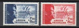 - FRANCE N° 565 + 566 Neufs ** MNH - 1 F. 20 + 8 F. 80 Bleu + Rouge Légion Tricolore 1942 - Cote 25 EUR - - Francia