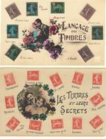 LANGAGE DES TIMBRES - LES TIMBRES ET LEURS SECRETS - 2 CARTES POSTALES ANCIENNES - Briefmarken (Abbildungen)