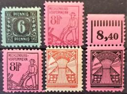 SOWJETISCHE BESATZUNGSZONE 1945 - MNH - Mi 8, 11X, 12, 16, 17 - Mecklenburg-Vorpommern - Sowjetische Zone (SBZ)