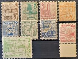 SOWJETISCHE BESATZUNGSZONE 1946 - MNH - Mi 2, 4, 5, 6, 7, 8, 13, 15, 16 - COTTBUS - Zone Soviétique