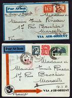 """INDOCHINE: Lot De 2 Belles Lettres Voyagées """"Par Avion"""" En 1932 Et 1933 De La Cie D'Aviation............ - Indochine (1889-1945)"""