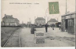 SAINT COSME DE VAIR. CP Voyagée La Gare - France