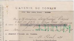 Lieutenant Troyes, Thanh-Thuy. Abonnement à L'Avenir Du Tonkin. 1931 - Documenten