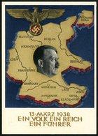 DT.REICH 1938, PK 268, RELIEFKARTE UND HITLERKOPF, UNGELAUFEN - Ganzsachen