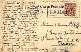 """1923- Post Card """" D.D. Rotterdam """"  Fr. 1 1/1 Penny Canc. PLYMOUTH / PAQUEBOT - 1902-1951 (Kings)"""
