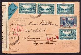 """LIBAN (Par Avion): Ensemble De 5 Timbres Obl. Beyrouth Le 26/04/1945 """"Par Avion"""" Pour La France............. - Liban"""