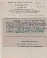 Lieutenant Troyes. Classement à L'état-major Particulier De L'Infanterie Coloniale. 4/11/ 1937 - Documenten