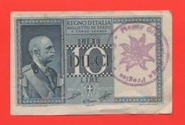 10 Lire 1939 Con Timbro Malga Praglas Friuli Regno D'Italia Curiosità - Italia – 10 Lire