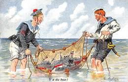 Illustrateur - N°63113 - Dufresne - Y A Du Bon - Marins Pêchant Des Navires Dans Un Filet - Andere Illustrators