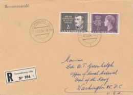 Luxemburg - 1956 - Staatsrat Set On R-cover From Luxembourg-Ville To Washington / USA - Lussemburgo