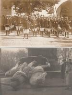 2 CARTE PHOTO:METZ (57) STATUE PRINCE FRÉDÉRIC CHARLES ET SON CHEVAL RENVERSÉ DÉCEMBRE 1918,FANFARE MILITAIRE - Metz