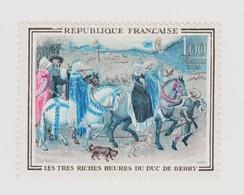 """FRANCE 1965  N°YT 1457 """"Très Riches Heures Du Duc De Berry"""" Variété """"sans Le Jaune"""" Couleur Bleu Majoritaire - Variétés Et Curiosités"""