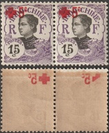 Indochine 1915 Y&T 68, En Paire. Surcharge Croix-Rouge Recto Verso - Red Cross