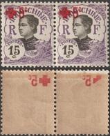 Indochine 1915 Y&T 68, En Paire. Surcharge Croix-Rouge Recto Verso - Croix-Rouge