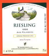 étiquette De Vin De Moselle Luxembourgeoise Riesling 1998 Vinsmoselle à Grevenmacher - 75 Cl - White Wines