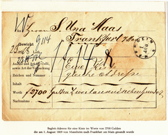 Begleit-Adresse Von Mannheim Nach Frankfurt, August 1869, Salomon Maas - Enteros Postales